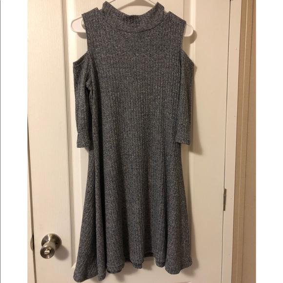 Rebellion Dresses & Skirts - Gray cold shoulder sweater dress